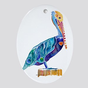 Penny Pelican Oval Ornament