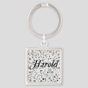 Harold, Matrix, Abstract Art Square Keychain