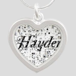 Hayden, Matrix, Abstract Art Silver Heart Necklace