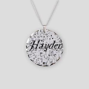 Hayden, Matrix, Abstract Art Necklace Circle Charm