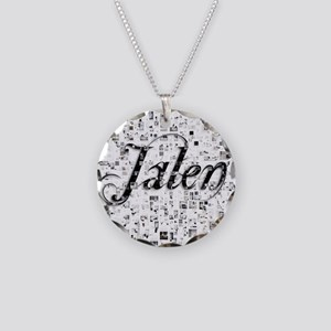 Jalen, Matrix, Abstract Art Necklace Circle Charm