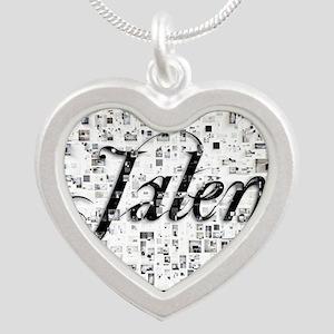 Jalen, Matrix, Abstract Art Silver Heart Necklace