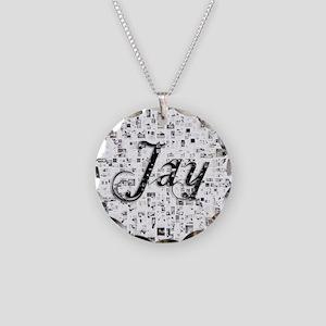 Jay, Matrix, Abstract Art Necklace Circle Charm