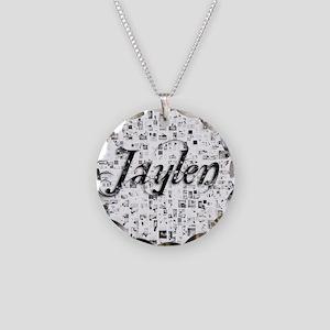 Jaylen, Matrix, Abstract Art Necklace Circle Charm
