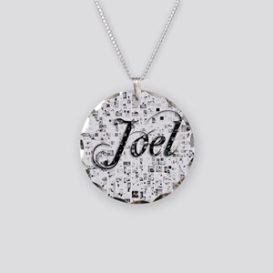 Joel, Matrix, Abstract Art Necklace Circle Charm