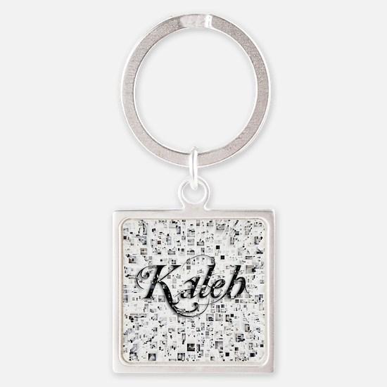 Kaleb, Matrix, Abstract Art Square Keychain