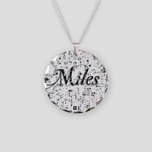 Miles, Matrix, Abstract Art Necklace Circle Charm