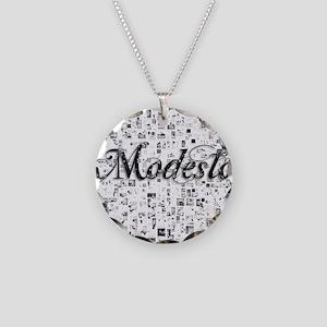 Modesto, Matrix, Abstract Ar Necklace Circle Charm