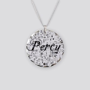 Percy, Matrix, Abstract Art Necklace Circle Charm