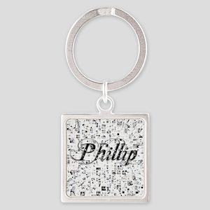Phillip, Matrix, Abstract Art Square Keychain