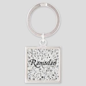 Ramadan, Matrix, Abstract Art Square Keychain