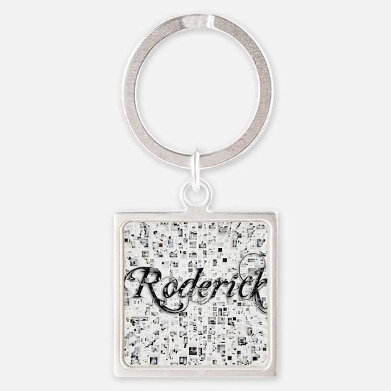Roderick, Matrix, Abstract Art Square Keychain