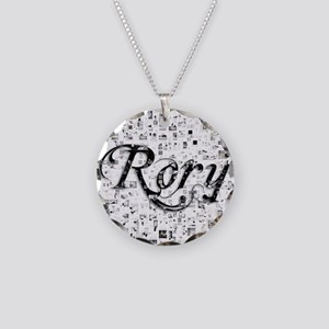 Rory, Matrix, Abstract Art Necklace Circle Charm
