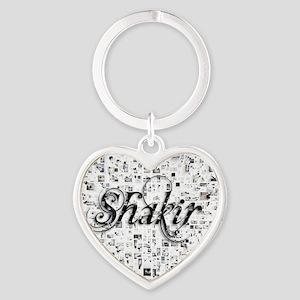 Shakir, Matrix, Abstract Art Heart Keychain
