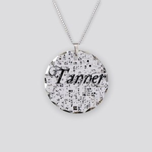 Tanner, Matrix, Abstract Art Necklace Circle Charm