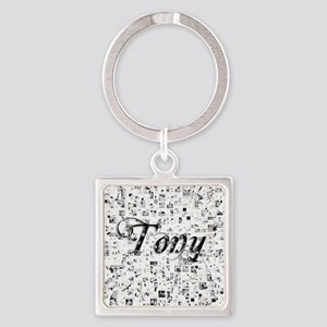 Tony, Matrix, Abstract Art Square Keychain