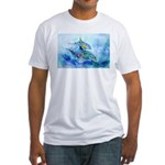 Whimzical Danube Dolphins Fitted T-Shirt