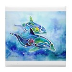 Whimzical Danube Dolphins Tile Coaster