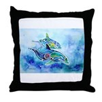 Whimzical Danube Dolphins Throw Pillow