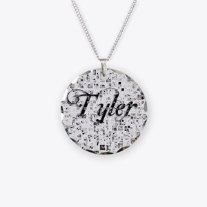 Tyler, Matrix, Abstract Art Necklace Circle Charm