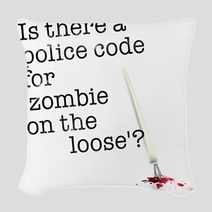 zombie on the loose Woven Throw Pillow