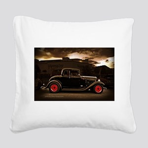1932 black ford 5 window Square Canvas Pillow