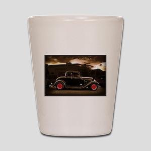 1932 black ford 5 window Shot Glass