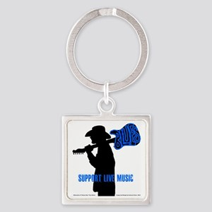 Tom Sillouette with BLUES-Support  Square Keychain