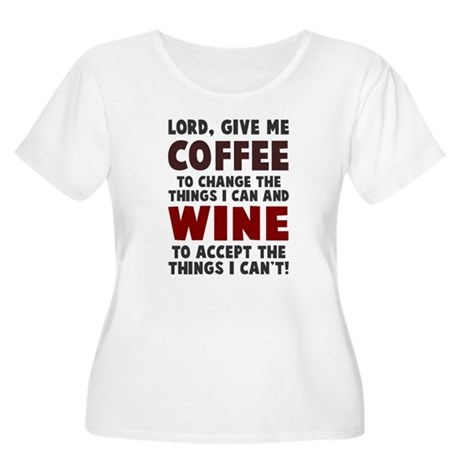 Coffee and Wine Women's Plus Size Scoop Neck T-Shi
