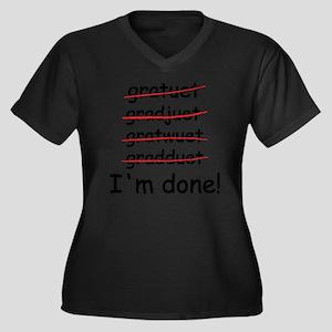 gardtuet Women's Plus Size Dark V-Neck T-Shirt