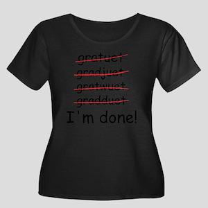 gardtuet Women's Plus Size Dark Scoop Neck T-Shirt