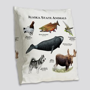 Alaska State Animals Burlap Throw Pillow