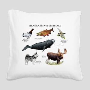 Alaska State Animals Square Canvas Pillow