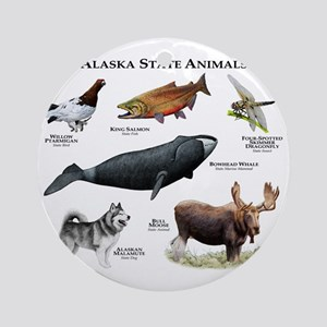 Alaska State Animals Round Ornament