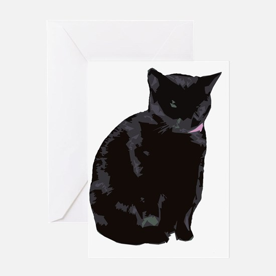 sheeby black cat no text Greeting Card