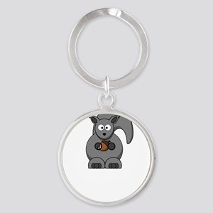 Squirrel Nut White Round Keychain