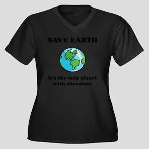 Save Earth C Women's Plus Size Dark V-Neck T-Shirt
