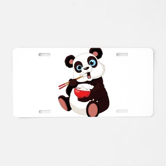 Panda Eating Rice Aluminum License Plate