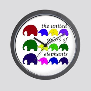 United Colors of Elephants Wall Clock