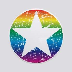 Raindow Star 2 Round Ornament