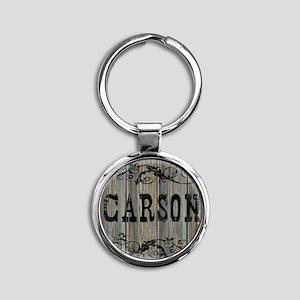 Carson, Western Themed Round Keychain