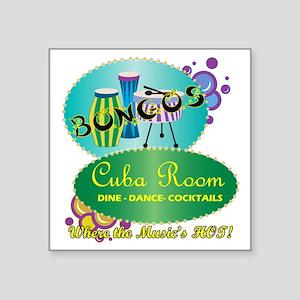 "BONGOS CUBA ROOM RETRO 50S  Square Sticker 3"" x 3"""