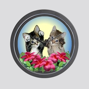 Cute Kittens with Paws Up Wall Clock