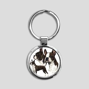 Boston Terrier Round Keychain