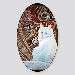 White Turkish Angora square Sticker (Oval)