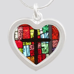 mouse-cross Silver Heart Necklace