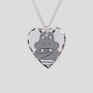 Grumpopotamus Coffee Necklace Heart Charm