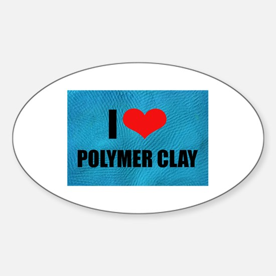 I Love Heart Polymer Clay Oval Decal