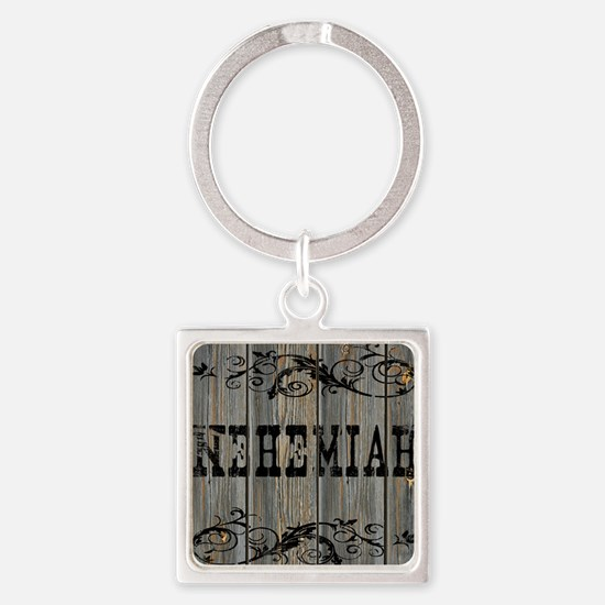 Nehemiah, Western Themed Square Keychain