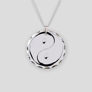 YingyangBrush Necklace Circle Charm